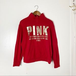 Pink Victoria Secret | Red Quarter Zip Sweatshirt